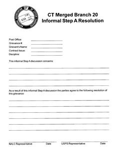 Informal Step A Resolution